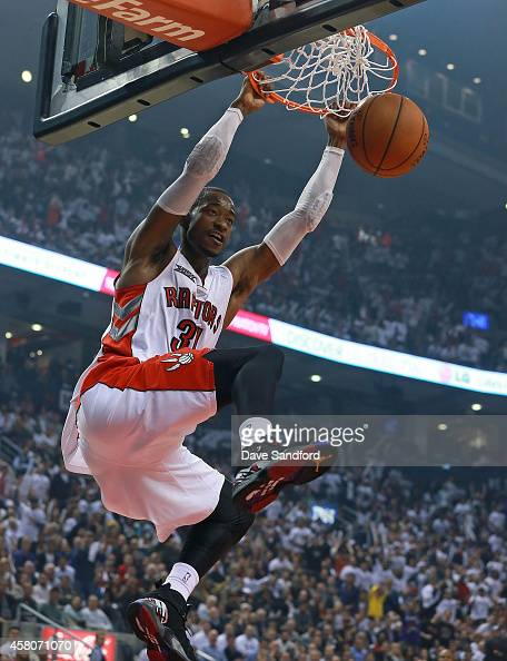 Terrence Ross of the Toronto Raptors dunks the ball against the Atlanta Hawks during their NBA game at the Air Canada Centre on October 29 2014 in...