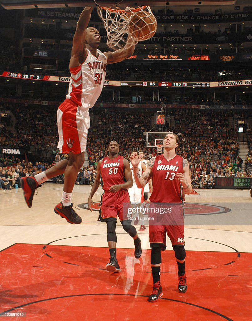 Terrence Ross #31 of the Toronto Raptors dunks the ball during the game between the Toronto Raptors and the Miami Heat on March 17, 2013 at the Air Canada Centre in Toronto, Ontario, Canada.