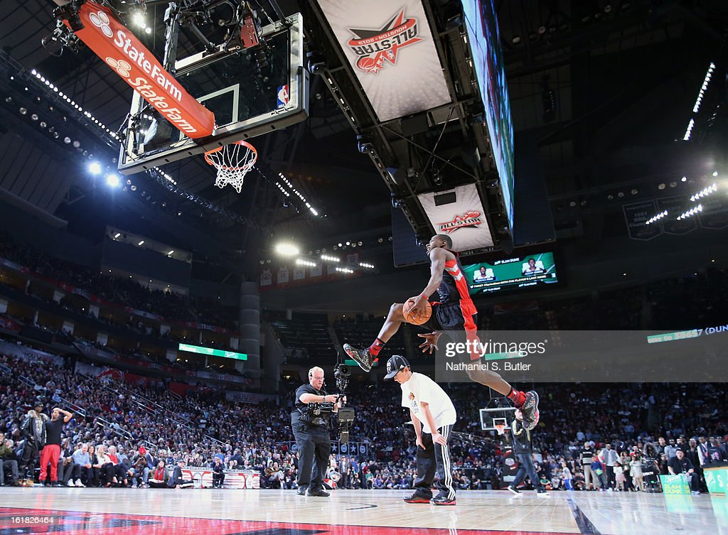 Terrence Ross #31 of the Toronto Raptors during the 2013 Sprite Slam Dunk Contest on State Farm All-Star Saturday Night as part of the 2013 NBA All-Star Weekend on February 16, 2013 at the Toyota Center in Houston, Texas.