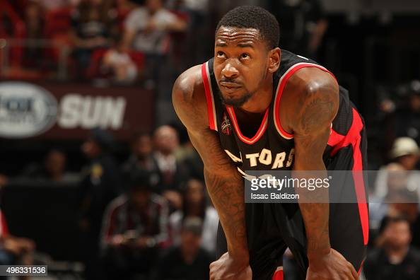 Terrence Ross of the Toronto Raptors during the game against the Miami Heat on November 8 2015 at American Airlines Arena in Miami Florida NOTE TO...