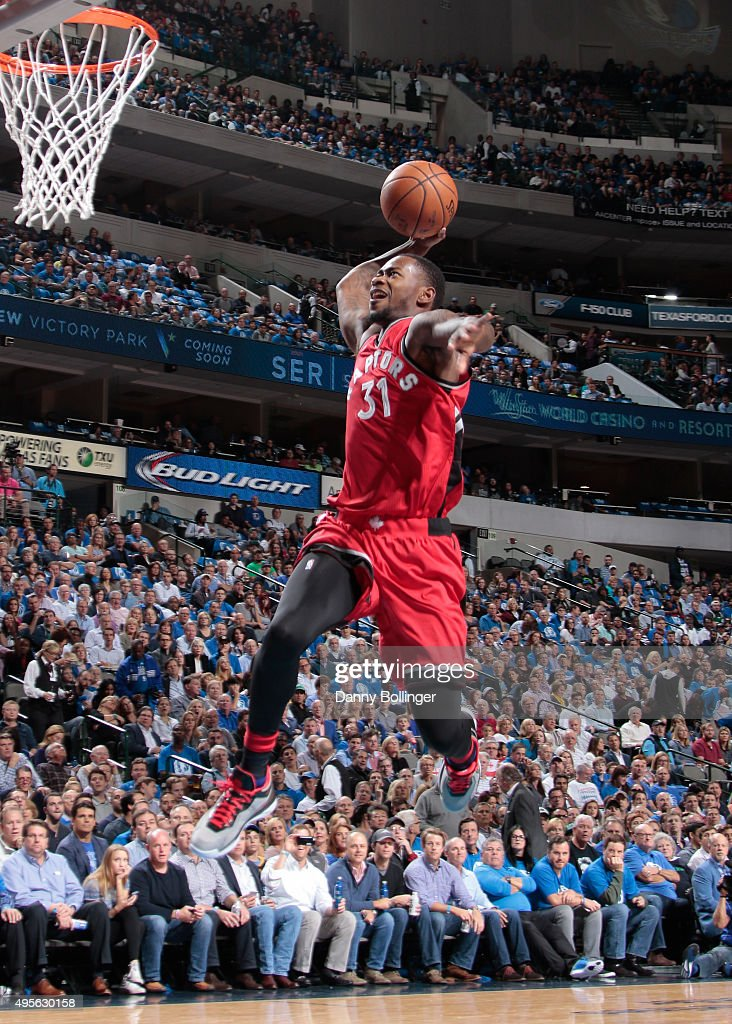 Terrence Ross #31 of the Toronto Raptors flies in for the dunk against the Dallas Mavericks on November 3, 2015 at the American Airlines Center in Dallas, Texas.