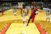Terrence Ross of the Toronto Raptors goes for a dunk against the Boston Celtics on October 15 2014 at the Cross Insurance Arena in Portland Maine...
