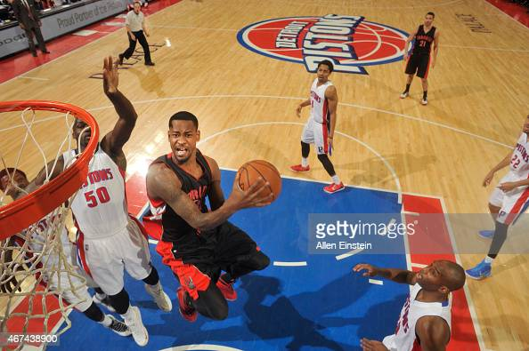 Terrence Ross of the Toronto Raptors goes for the layup against the Detroit Pistons during the game on March 24 2015 at The Palace of Auburn Hills in...