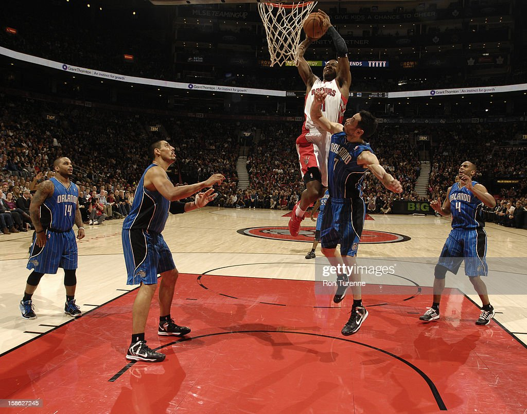 <a gi-track='captionPersonalityLinkClicked' href=/galleries/search?phrase=Terrence+Ross&family=editorial&specificpeople=6781663 ng-click='$event.stopPropagation()'>Terrence Ross</a> #31 of the Toronto Raptors goes in for the dunk against the Orlando Magic during the game on December 19, 2012 at the Air Canada Centre in Toronto, Ontario, Canada.