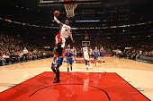 Terrence Ross of the Toronto Raptors goes up for a dunk against the New York Knicks during the game on December 21 2014 at the Air Canada Centre in...