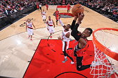 Terrence Ross of the Toronto Raptors goes up for a dunk against the Portland Trail Blazers during the game on December 30 2014 at the Moda Center in...