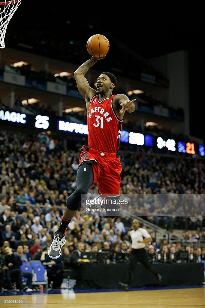 <a gi-track='captionPersonalityLinkClicked' href=/galleries/search?phrase=Terrence+Ross&family=editorial&specificpeople=6781663 ng-click='$event.stopPropagation()'>Terrence Ross</a> #31 of the Toronto Raptors goes up for a dunk against the Orlando Magic as part of the 2016 Global Games London on January 14, 2016 at The O2 Arena in London, England.