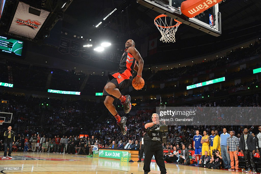 Terrence Ross of the Toronto Raptors goes up for a dunk during the 2013 Sprite Slam Dunk Contest on State Farm All-Star Saturday Night as part of the 2013 NBA All-Star Weekend on February 16, 2013 at the Toyota Center in Houston, Texas.