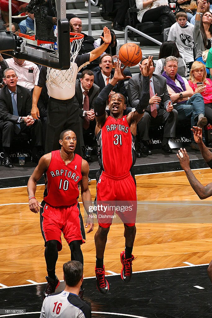 <a gi-track='captionPersonalityLinkClicked' href=/galleries/search?phrase=Terrence+Ross&family=editorial&specificpeople=6781663 ng-click='$event.stopPropagation()'>Terrence Ross</a> #31 of the Toronto Raptors goes up for the rebound against the Brooklyn Nets at the Barclays Center on January 15, 2013 in the Brooklyn borough of New York City in New York City.