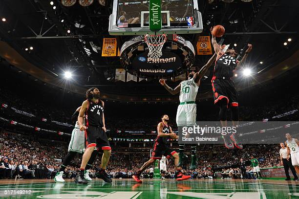 Terrence Ross of the Toronto Raptors grabs the rebound against the Boston Celtics on March 23 2016 at the TD Garden in Boston Massachusetts NOTE TO...