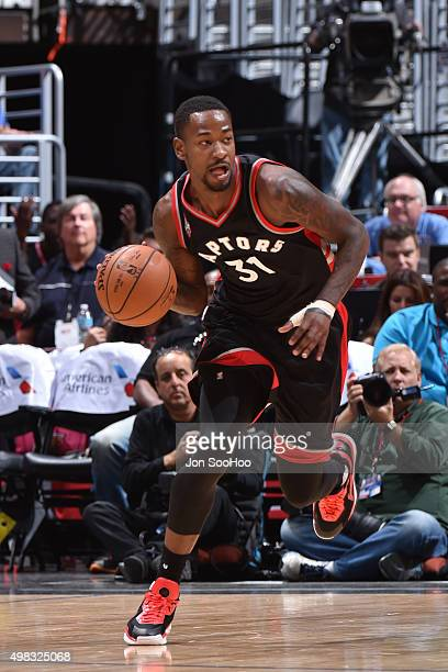 Terrence Ross of the Toronto Raptors handles the ball against the Los Angeles Clippers at STAPLES Center on November 22 2015 in Los Angeles...