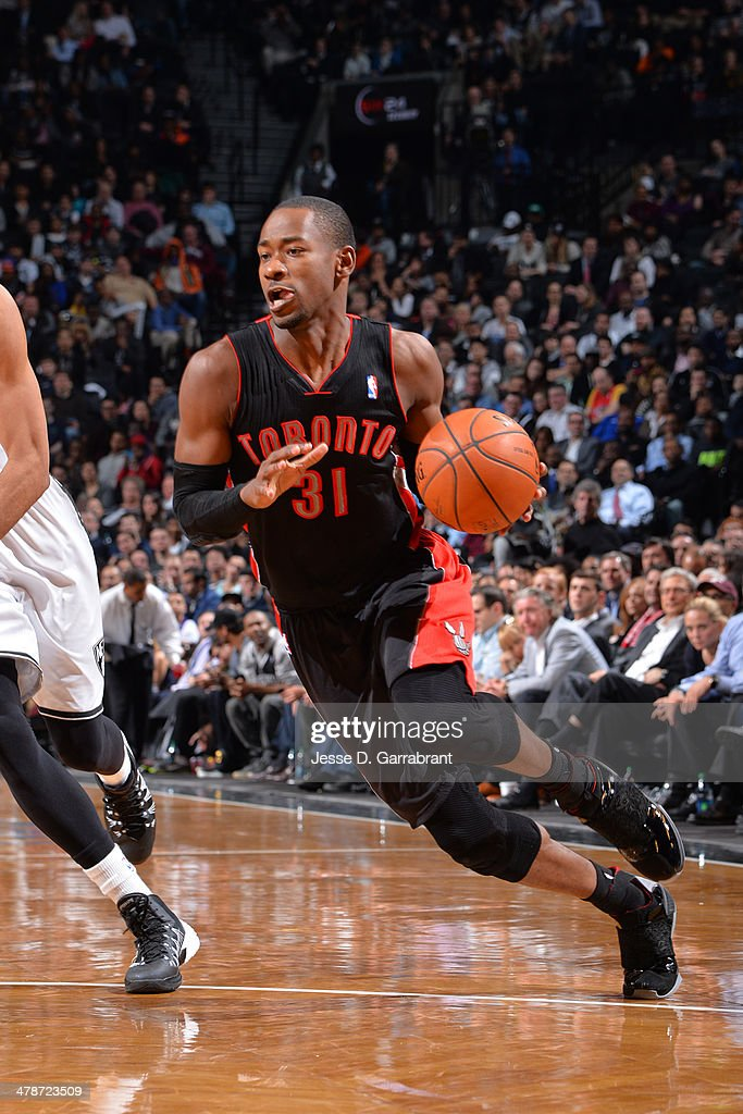 <a gi-track='captionPersonalityLinkClicked' href=/galleries/search?phrase=Terrence+Ross&family=editorial&specificpeople=6781663 ng-click='$event.stopPropagation()'>Terrence Ross</a> #31 of the Toronto Raptors handles the ball against the Brooklyn Nets on March 10, 2014 at the Barclays Center in Brooklyn, New York.