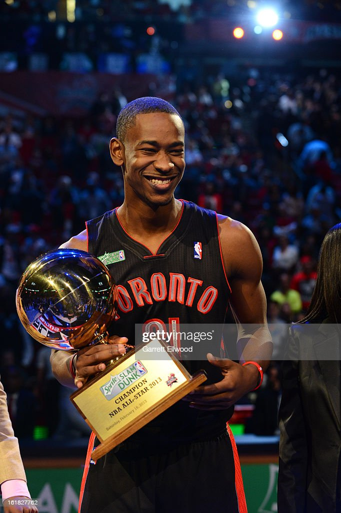 Terrence Ross #31 of the Toronto Raptors holds the trophy after winning the Sprite Slam Dunk Contest on State Farm All-Star Saturday Night during NBA All Star Weekend on February 16, 2013 at the Toyota Center in Houston, Texas.