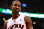 Terrence Ross of the Toronto Raptors looks on against the New York Knicks at the Air Canada Centre on April 11 2014 in Toronto Ontario Canada NOTE TO...