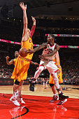 Terrence Ross of the Toronto Raptors passes the ball against the Cleveland Cavaliers during a preseason game on October 18 2015 at the Air Canada...