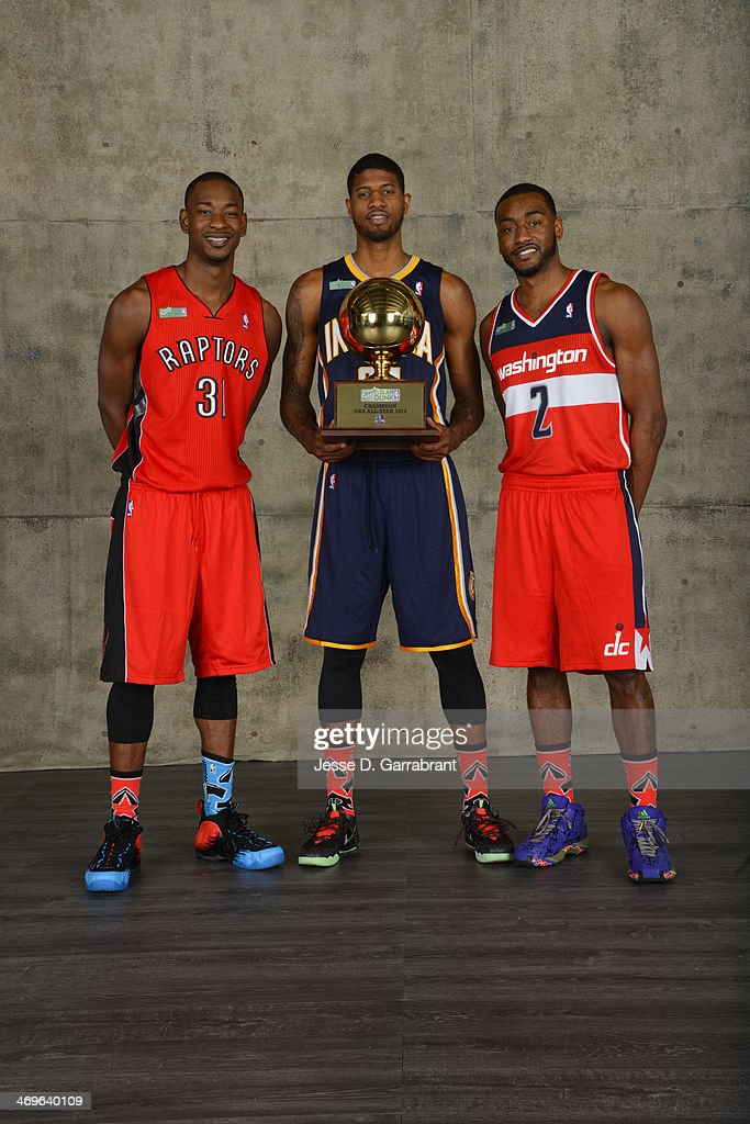 Terrence Ross of the Toronto Raptors, Paul George of the Indiana Pacers and John Wall of the Washington Wizards poses for a portrait after winning the Sprite Slam Dunk Contest during the 2014 State Farm Saturday Night on February 15, 2014 at the Smoothie King Center in New Orleans, Louisiana.