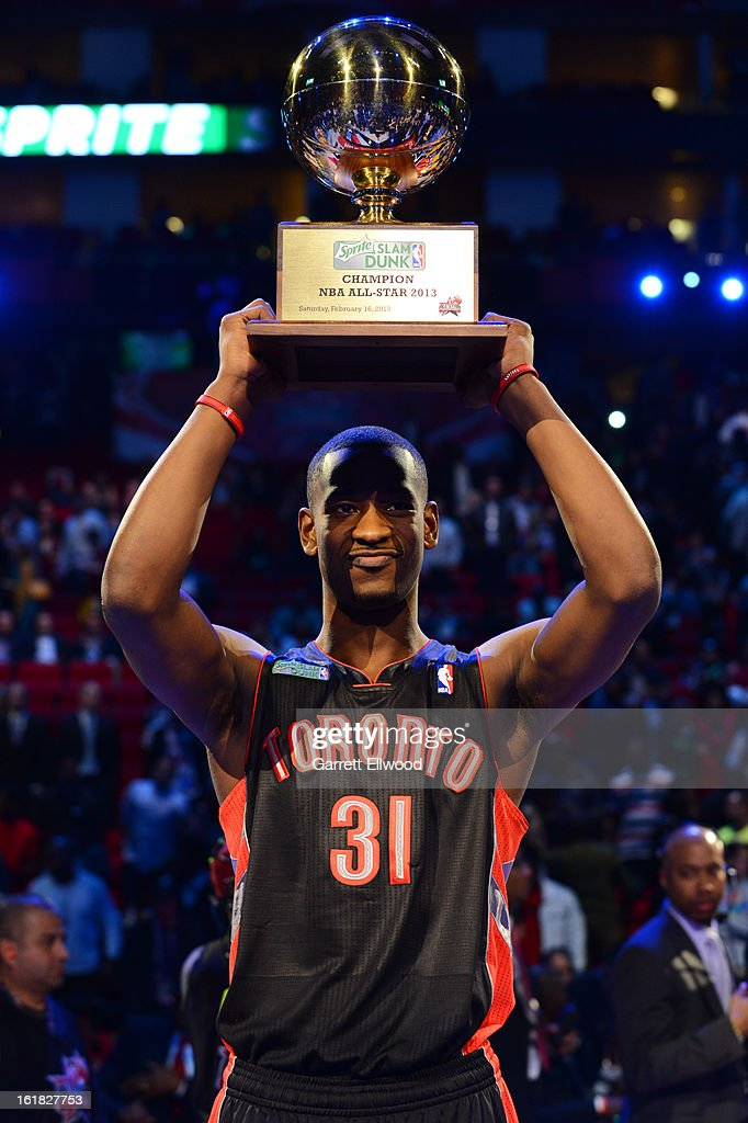 Terrence Ross #31 of the Toronto Raptors poses with the trophy after winning the Sprite Slam Dunk Contest on State Farm All-Star Saturday Night during NBA All Star Weekend on February 16, 2013 at the Toyota Center in Houston, Texas.
