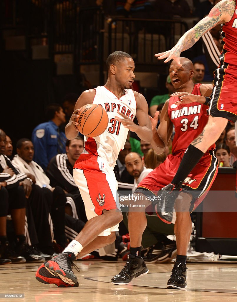 <a gi-track='captionPersonalityLinkClicked' href=/galleries/search?phrase=Terrence+Ross&family=editorial&specificpeople=6781663 ng-click='$event.stopPropagation()'>Terrence Ross</a> #31 of the Toronto Raptors protects the ball from <a gi-track='captionPersonalityLinkClicked' href=/galleries/search?phrase=Ray+Allen&family=editorial&specificpeople=201511 ng-click='$event.stopPropagation()'>Ray Allen</a> #34 of the Miami Heat during the game between the Toronto Raptors and the Miami Heat on March 17, 2013 at the Air Canada Centre in Toronto, Ontario, Canada.