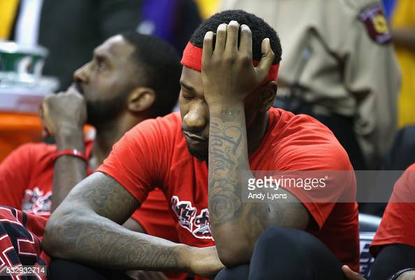 Terrence Ross of the Toronto Raptors reacts on the bench during the second half against the Cleveland Cavaliers in game two of the Eastern Conference...