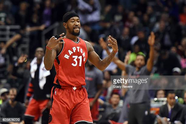 Terrence Ross of the Toronto Raptors reacts to a three point shot during the second half of a game against the Milwaukee Bucks at the BMO Harris...