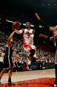 Terrence Ross of the Toronto Raptors shoots against the Brooklyn Nets in Game Seven of the Eastern Conference Quarterfinals during the NBA Playoffs...