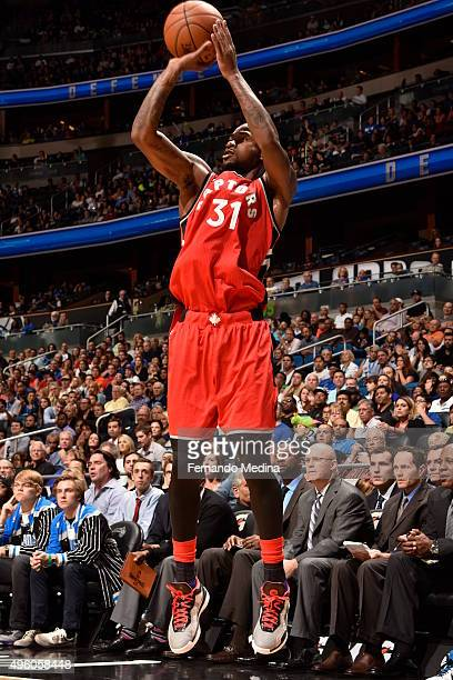 Terrence Ross of the Toronto Raptors shoots against the Orlando Magic during the game on November 6 2015 at Amway Center in Orlando Florida NOTE TO...