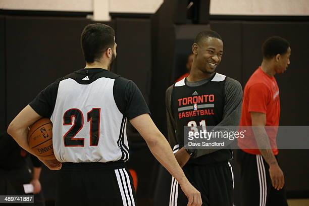 Terrence Ross of the Toronto Raptors smiles during their NBA practice at the Air Canada Centre on April 18 2014 in Toronto Ontario Canada NOTE TO...