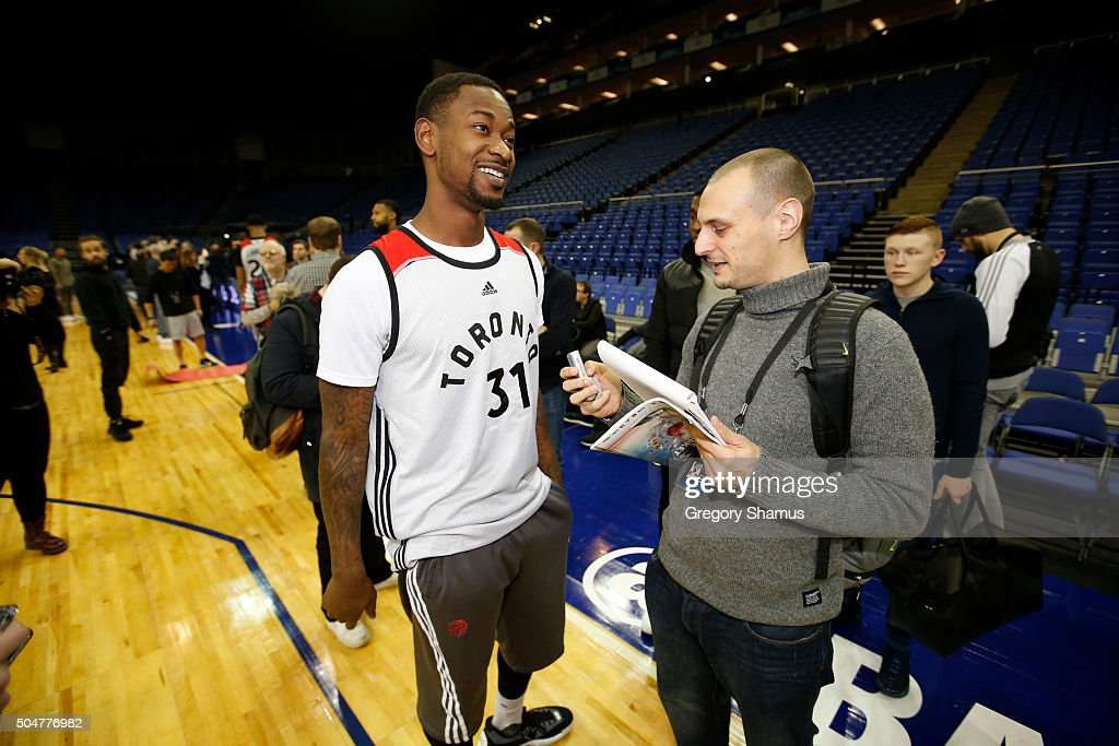 Terrence Ross of the Toronto Raptors speaks to the media after practice as part of the 2016 Global Games London on January 13, 2016 at The O2 Arena in London, England.