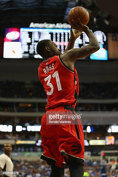 Terrence Ross of the Toronto Raptors takes a shot against the Dallas Mavericks at American Airlines Center on November 3 2015 in Dallas Texas NOTE TO...