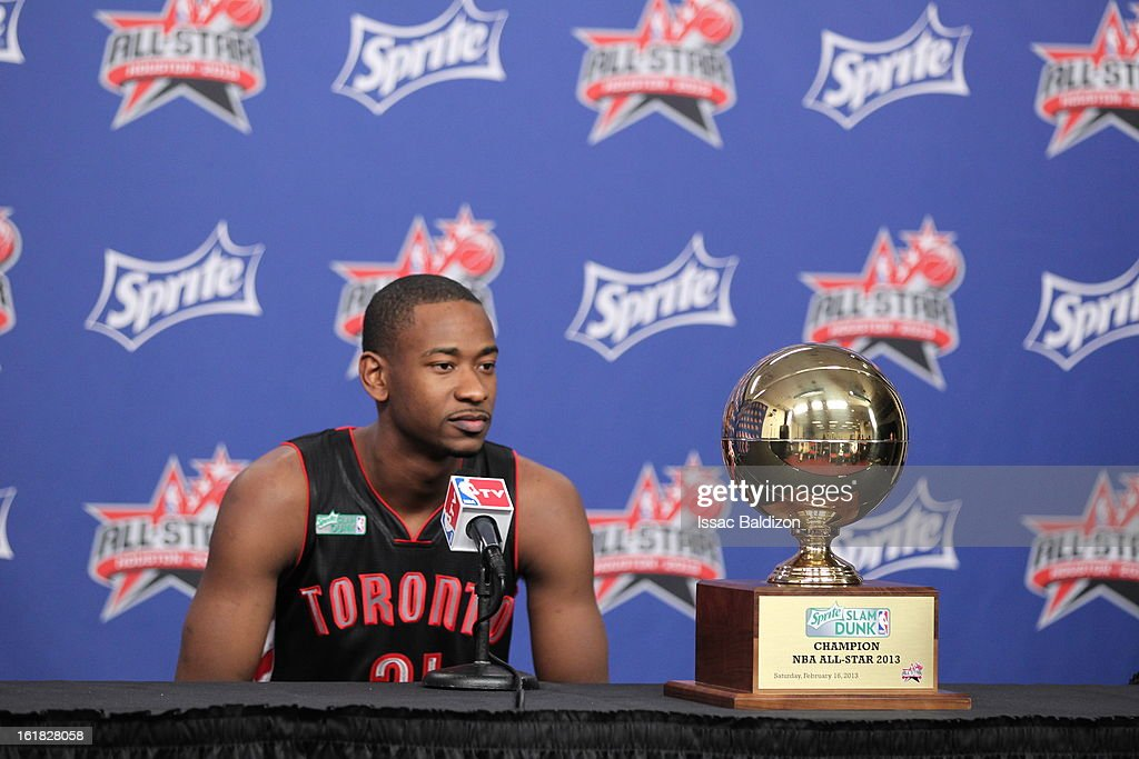 Terrence Ross #31 of the Toronto Raptors talks to the media after winning the Sprite Slam Dunk Contest on State Farm All-Star Saturday Night during NBA All Star Weekend on February 16, 2013 at the Toyota Center in Houston, Texas.