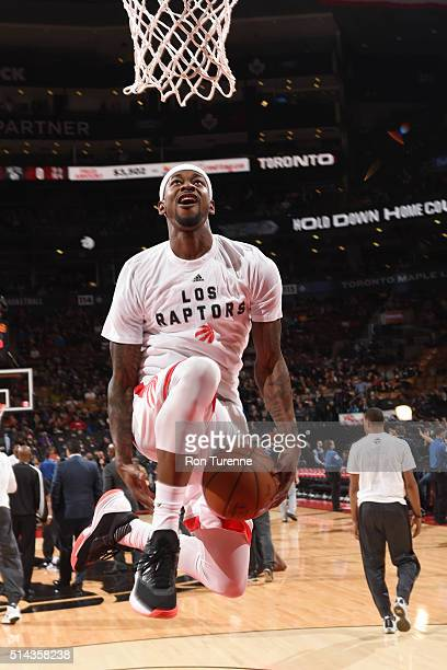 Terrence Ross of the Toronto Raptors warms up before the game against the Brooklyn Nets on March 8 2016 at the Air Canada Centre in Toronto Ontario...