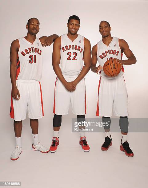 Terrence Ross Rudy Gay and DeMar DeRozan of the Toronto Raptors poses for a portrait during a Media Day on September 30 2013 in Toronto Canada NOTE...