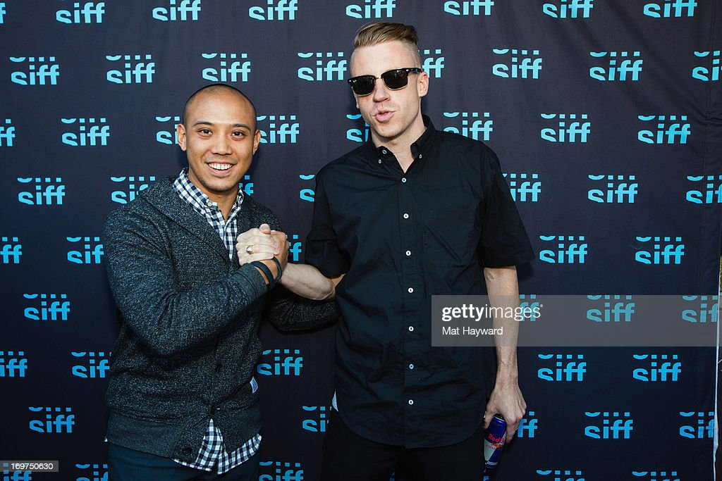 Terrence Santos (L) and <a gi-track='captionPersonalityLinkClicked' href=/galleries/search?phrase=Macklemore&family=editorial&specificpeople=7639427 ng-click='$event.stopPropagation()'>Macklemore</a> (R) attend the world premiere of 'The Otherside' during the Seattle International Film Festival at SIFF Cinema Uptown on May 31, 2013 in Seattle, Washington.