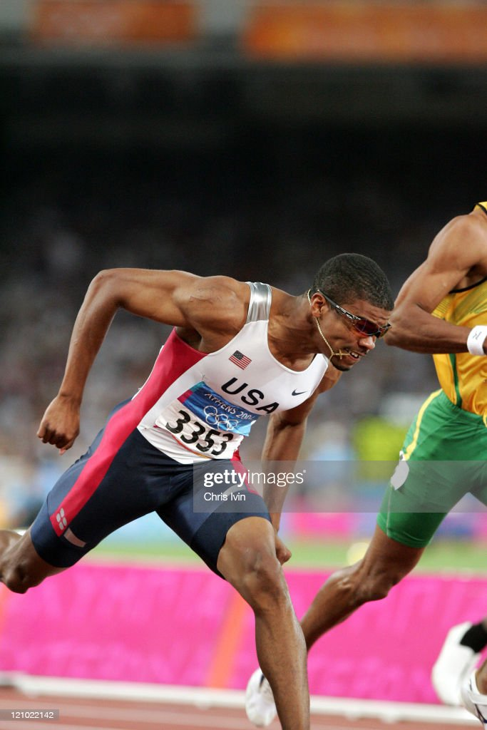 Terrence Trammell of the USA gets the Silver Medal in the Men's 110m Hurdles Final in the Olympic Stadium during the Athens 2004 Olympic Games in Athens, Greece on August 27, 2004.