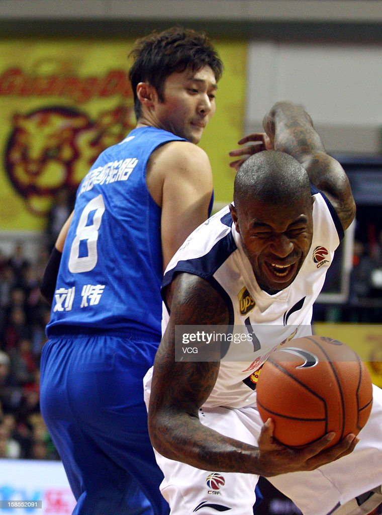 <a gi-track='captionPersonalityLinkClicked' href=/galleries/search?phrase=Terrence+Williams&family=editorial&specificpeople=666450 ng-click='$event.stopPropagation()'>Terrence Williams</a> #1 of Guangdong Southern Tigers in action during the 11th round of the CBA 12/13 game against Shanghai Sharks at Dongguan Stadium on December 18, 2012 in Donggang, China.