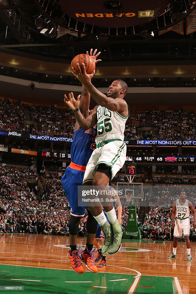 Terrence Williams #55 of the Boston Celtics drives to the basket against the New York Knicks in Game Four of the Eastern Conference Quarterfinals during the 2013 NBA Playoffs on April 28, 2013 at the TD Garden in Boston.