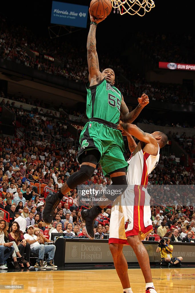 <a gi-track='captionPersonalityLinkClicked' href=/galleries/search?phrase=Terrence+Williams&family=editorial&specificpeople=666450 ng-click='$event.stopPropagation()'>Terrence Williams</a> #55 of the Boston Celtics dunks against <a gi-track='captionPersonalityLinkClicked' href=/galleries/search?phrase=Rashard+Lewis&family=editorial&specificpeople=201713 ng-click='$event.stopPropagation()'>Rashard Lewis</a> #9 of the Miami Heat on April 12, 2013 at American Airlines Arena in Miami, Florida.