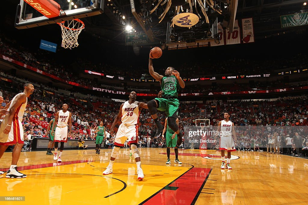 <a gi-track='captionPersonalityLinkClicked' href=/galleries/search?phrase=Terrence+Williams&family=editorial&specificpeople=666450 ng-click='$event.stopPropagation()'>Terrence Williams</a> #55 of the Boston Celtics goes to the basket against <a gi-track='captionPersonalityLinkClicked' href=/galleries/search?phrase=Joel+Anthony&family=editorial&specificpeople=4092295 ng-click='$event.stopPropagation()'>Joel Anthony</a> #50 of the Miami Heat on April 12, 2013 at American Airlines Arena in Miami, Florida.