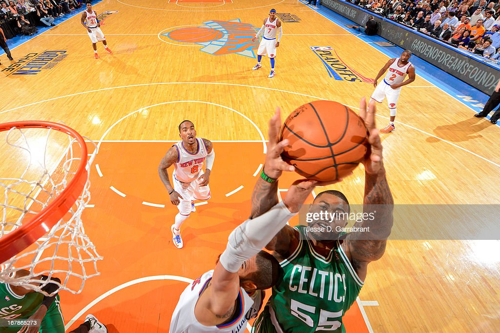 Terrence Williams #55 of the Boston Celtics grabs a rebound against the New York Knicks in Game Five of the Eastern Conference Quarterfinals during the 2013 NBA Playoffs on May 1, 2013 at Madison Square Garden in New York City.