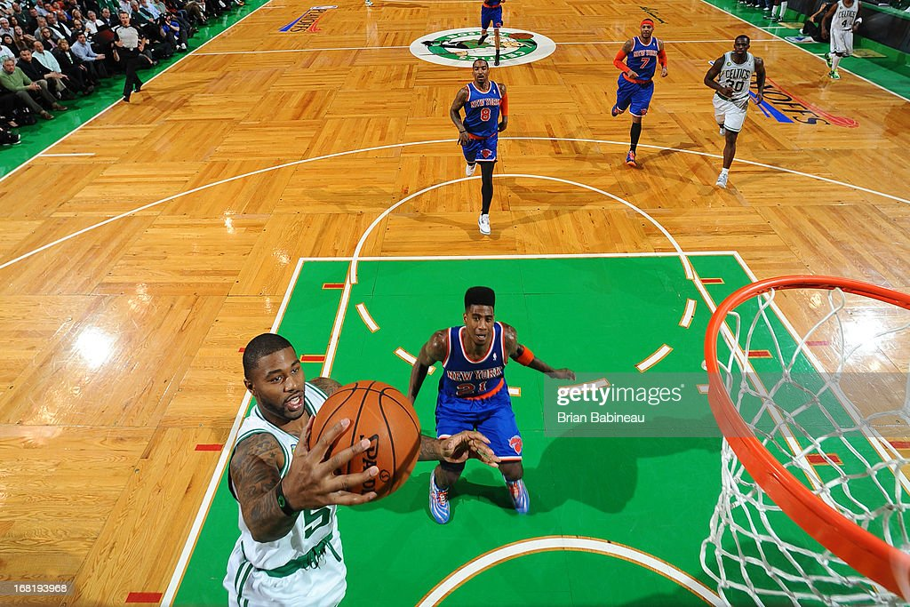 Terrence Williams #55 of the Boston Celtics shoots a layup against Iman Shumpert #21 of the New York Knicks in Game Six of the Eastern Conference Quarterfinals during the NBA Playoffs on May 3, 2013 at the TD Garden in Boston, Massachusetts.
