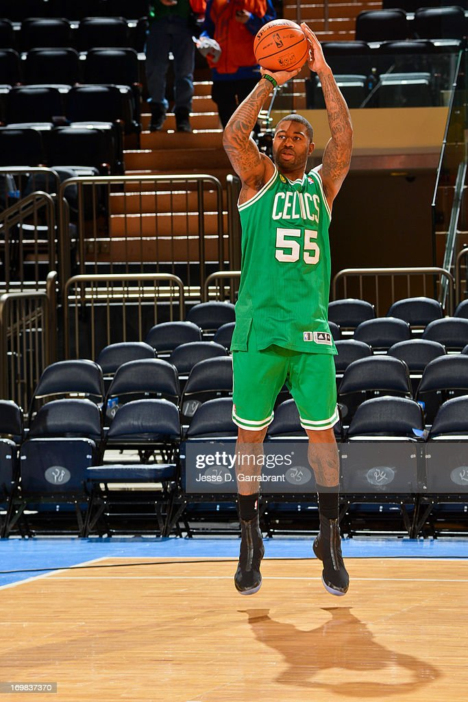 <a gi-track='captionPersonalityLinkClicked' href=/galleries/search?phrase=Terrence+Williams&family=editorial&specificpeople=666450 ng-click='$event.stopPropagation()'>Terrence Williams</a> #55 of the Boston Celtics warms up before playing the New York Knicks in Game One of the Eastern Conference Quarterfinals during the 2013 NBA Playoffs on April 20, 2013 at Madison Square Garden in New York City, New York.