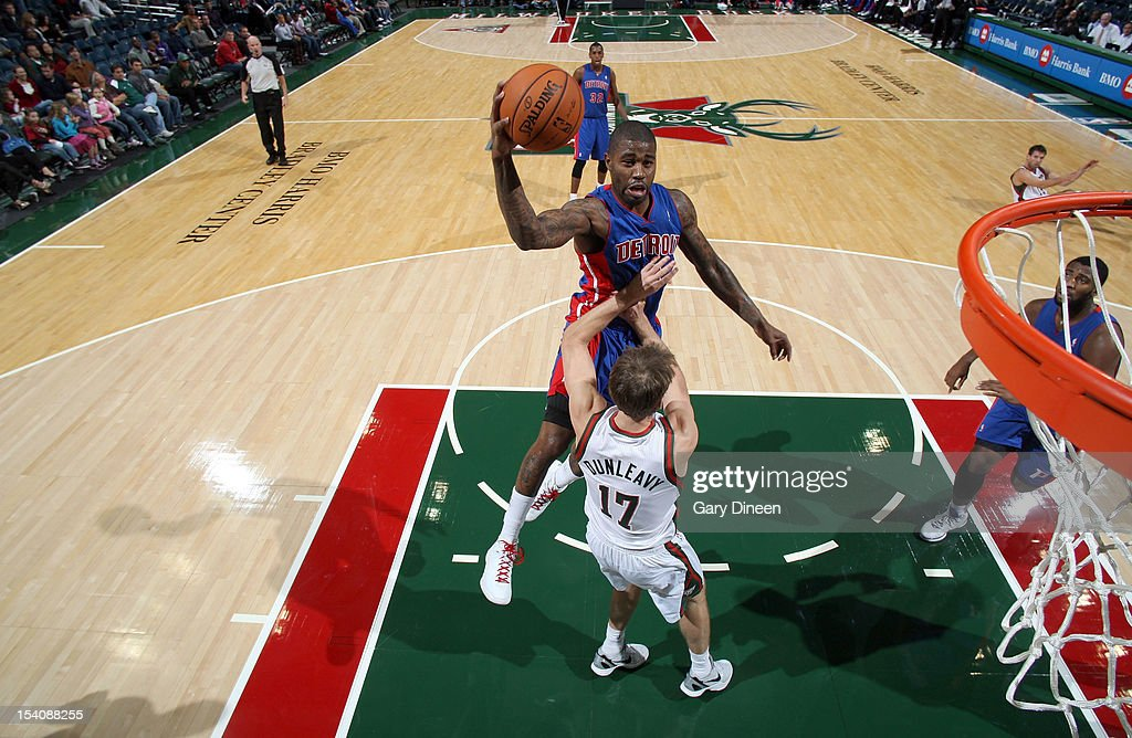 <a gi-track='captionPersonalityLinkClicked' href=/galleries/search?phrase=Terrence+Williams&family=editorial&specificpeople=666450 ng-click='$event.stopPropagation()'>Terrence Williams</a> #9 of the Detroit Pistons shoots against Mike Dunleavy #17 of the Milwaukee Bucks during the NBA preseason game on October 13, 2012 at the BMO Harris Bradley Center in Milwaukee, Wisconsin.