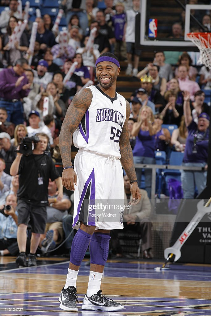 Terrence Williams #55 of the Sacramento Kings smiles in a game against the Portland Trail Blazers on April 15, 2012 at Power Balance Pavilion in Sacramento, California.