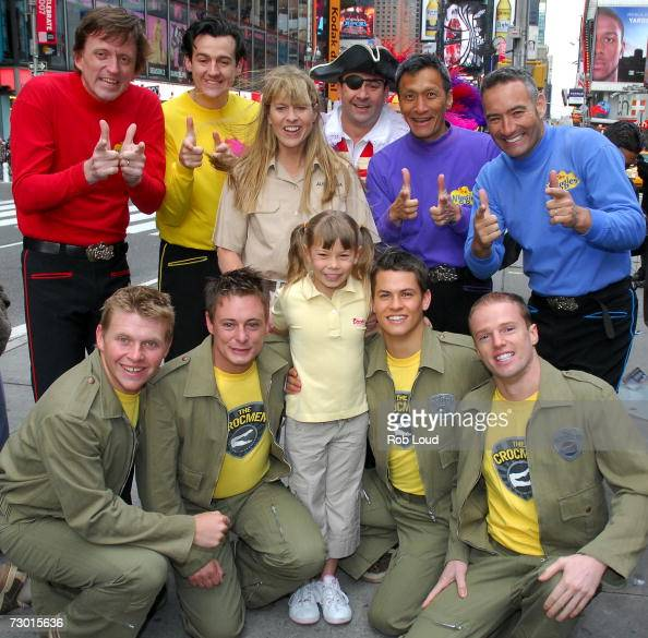 Terri Irwin and her daughter Bindi pose with members of The Crocmen and the Wiggles to kickoff Australia Week in Times Square on January 16 2007 in...