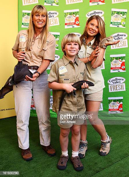 Terri Irwin Robert Irwin and Bindi Irwin pose with a bat and some lizards during the Goulburn Valley Fresh launch at Martin Place on February 18 2013...