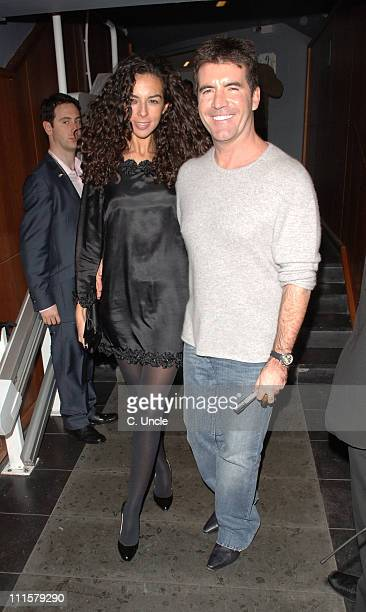 Terri Seymour and Simon Cowell during X Factor Party Arrivals at Sound Leicester Square in London Great Britain