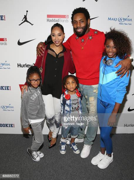 Terricka Cason and Antonio Cromartie attends the Rookie USA Fashion Show during New York Fashion Week The Shows at Skylight Clarkson Sq on February...