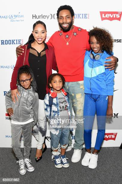 Terricka Cason and Antonio Cromartie pose backstage at the Rookie USA fashion show during New York Fashion Week The Shows at Gallery 3 Skylight...