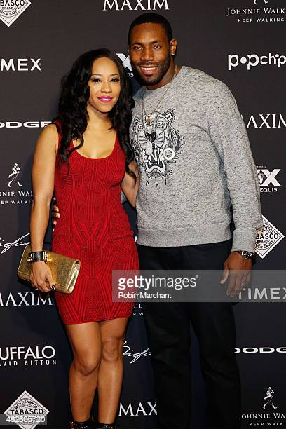 Terricka Cason and NFL player Antonio Cromartie attends the Maxim Party with Johnnie Walker Timex Dodge Hugo Boss Dos Equis Buffalo Jeans Tabasco and...