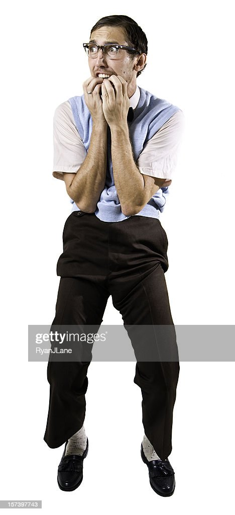Terrified Nerd Guy Isolated on White